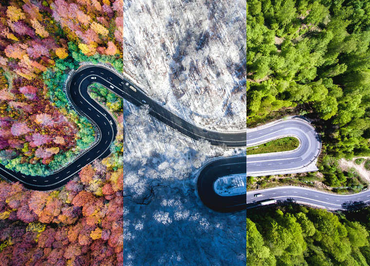 background picture sinuous road spring winter autumn tyre