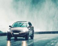 guide car rainy road dark