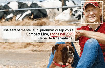 Usa serenamente i tuoi pneumatici Agricoli e Compact Line, anche nel 2020 KLEBER te li garantisce!