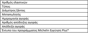 Michelin Promotion: Απαιτούμενες πληροφορίες συμμετοχής